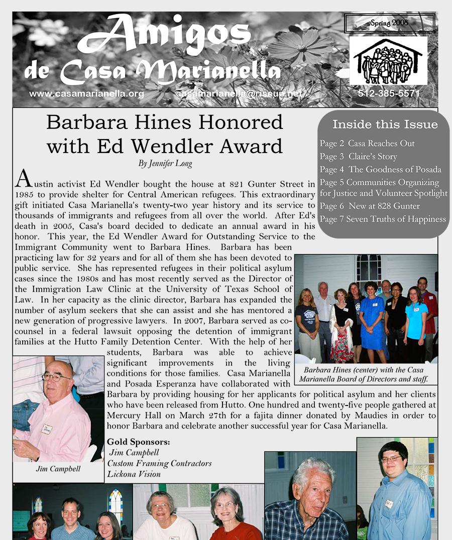 casa marianella 2008 spring annual print newsletter