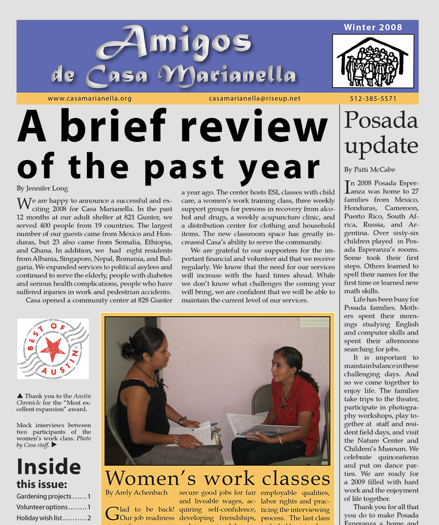 casa marianella 2008 winter annual print newsletter